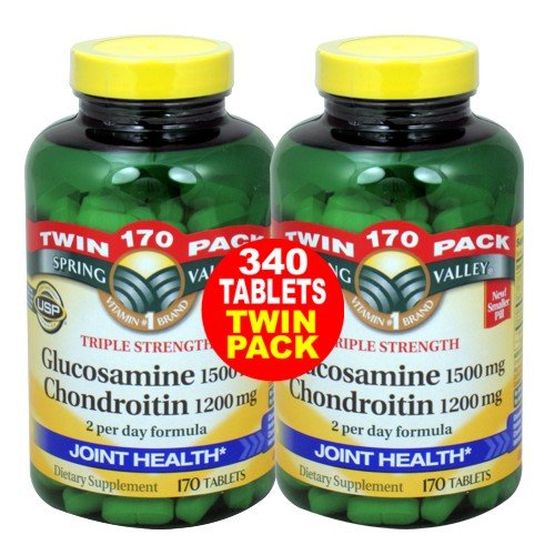 Spring Valley - Glucosamine chondroïtine, Force Triple, 340 comprimés, Twin Pack