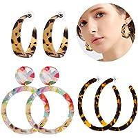 ALEXY Women's Mottled Hoop Earrings Bohemia Acrylic Resin Hoops Stud Earrings