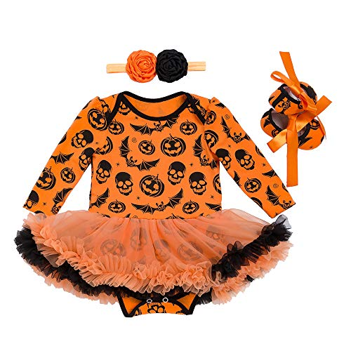 Winmany Baby Girl Halloween Costumn Long-Sleeved Romper Tutu Dress Headband Shoes -