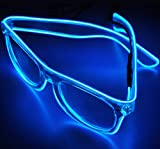 TILO LED Rave Sunglasses White Multicolor Frame EL Wire Glow Colorful Flashing Safety Light up Glasses for Festivals DJ Bright Light Holiday Gift (Blue)
