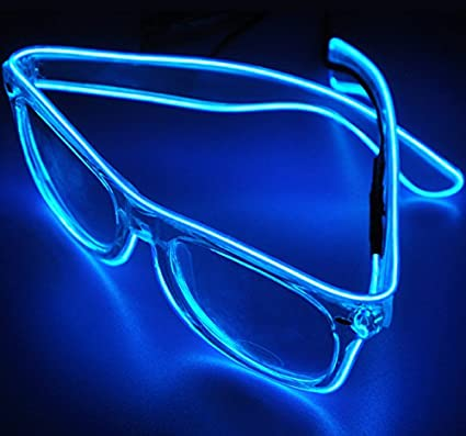 e72851eb6d TILO LED Rave Sunglasses White Multicolor Frame EL Wire Glow Colorful  Flashing Safety Light up Glasses