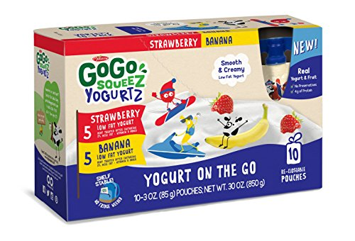 GoGo squeeZ YogurtZ, Variety Pack (Strawberry/Banana), 3.2 Ounce Portable BPA-Free Pouches, Gluten-Free, 10 Total Pouches by GoGo SqueeZ