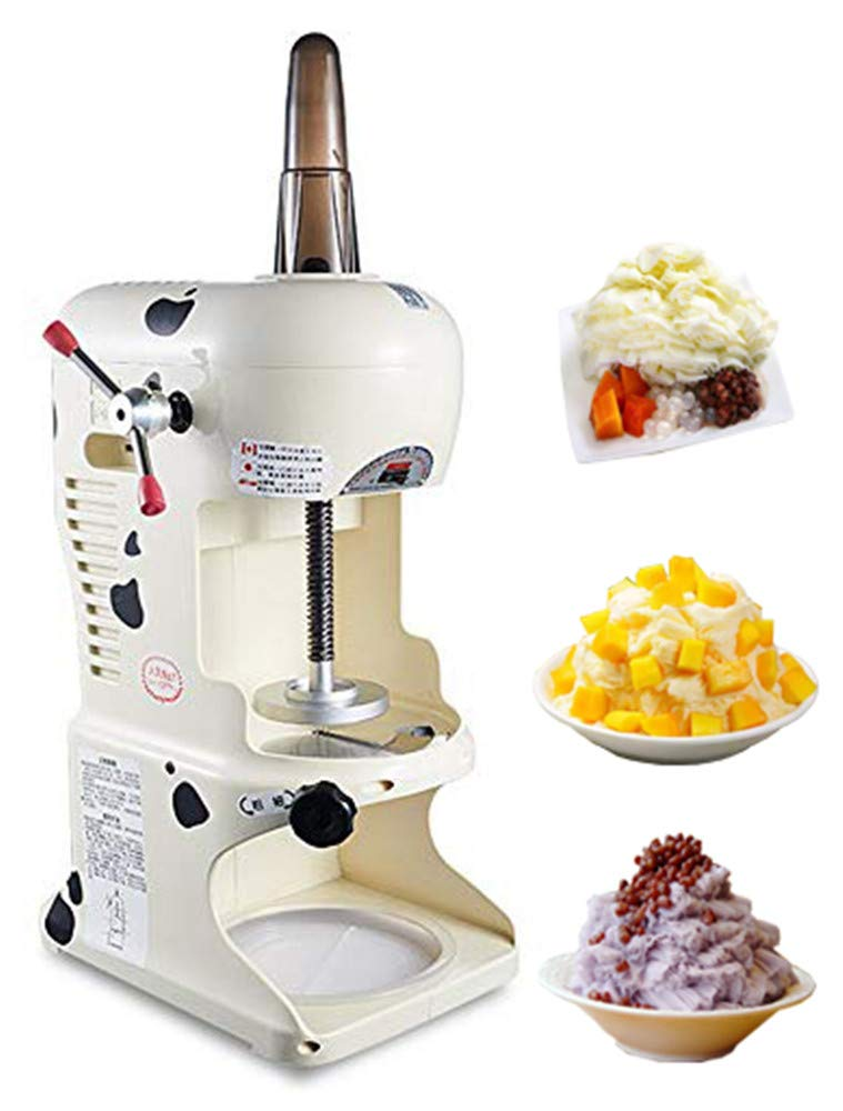 NEWTRY Commercial Ice Shaver Automatic Snow Cone Maker Thickness Adjustable Ice Shaving Machine Electric Shaved Ice Crusher