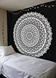 Urban Fab 90×90 Inch Tapestry Black And White Tapestry Hippie Wall Hanging Bohemian Art Decor Mandala Dorm Coverlet Indian Wall Tapestries