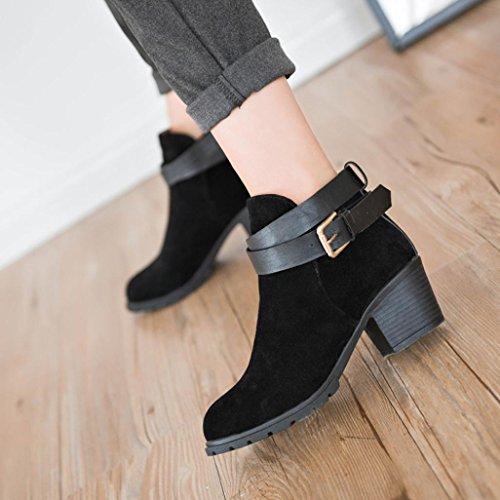 Botas Mujer,Ouneed ® Mujeres de invierno de alta calidad zapatos de nieve de tacón bajo tobillo cinturón de la hebilla Martin Botas Negro