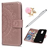 LG Aristo 2 Case, LG K8 2018 Wallet Case 3D Embossed Totem Flower Premuim PU Leather Wallet Case + Shockproof Drop Resistant Soft TPU Silicone Gel Inner Bumper Slim Fit Protective Case for LG K8 2018 For Sale