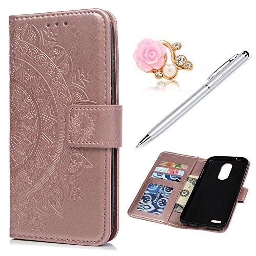LG Aristo 2 Case, LG K8 2018 Wallet Case 3D Embossed Totem Flower Premuim PU Leather Wallet Case + Shockproof DropResistant Soft TPU Silicone Gel Inner Bumper Slim Fit Protective Case for LG K8 2018 For Sale