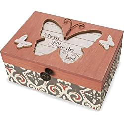 Pavilion Gift Company 41100 Simple Spirits - Patterned Butterfly Mom What A Wonderful World Musical Jewelry Box,