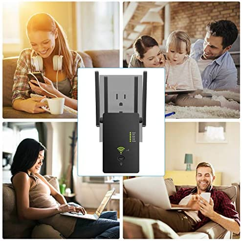 Super Boost WiFi Extender Signal Booster, Long Range as much as 2500 FT, 1200 MBPS Wireless Internet Amplifier - Covers 15 Devices with 4 External Advanced Antennas, LAN/Ethernet
