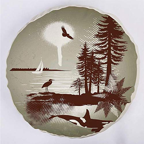 YOUWENll Round Decorative Throw Pillow Floor Meditation Cushion Seating/Detailed Complex West Coast Scenery in Graffiti Style Isolated Nature Decor/for Home Decoration 17