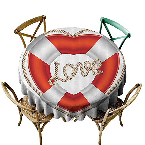 Spillproof Tablecloth Buoy Decor Heart Shaped Life Belt Valentine Love Affection Honeymoon Romantic Art Dinner Picnic Table Cloth Home Decoration 50 INCH
