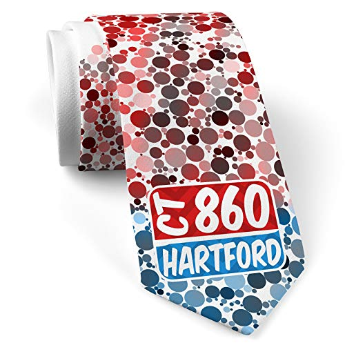 Neck Tie with 860 Hartford, CT red/blue White with Color Print