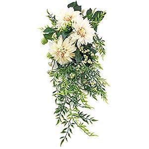 Cafe au Lait Dahlia Bridal Bouquet Cascade - Silk Wedding Flowers 6