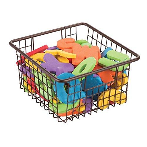 mDesign Baby Nursery Wire Storage Basket with Handles for Bottles, Toys, Wipes - Medium, Bronze (Wire Toy Basket)