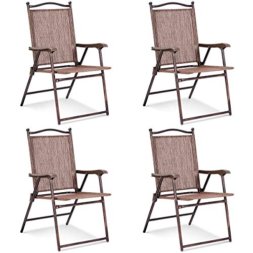Giantex Set of 4 Folding Sling Back Chairs Indoor Outdoor Camping Chairs Garden Patio Pool Beach Yard Lounge Chairs w/Armrest (Brown)