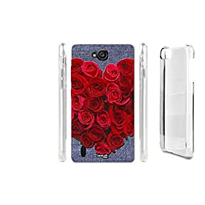 FUNDA CARCASA EFECTO JEANS ROSE FORMA CUORE PARA HUAWEI ASCEND G740