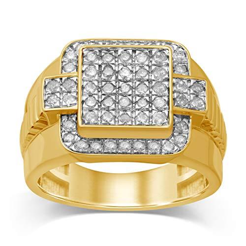 Diamond Jewel 10K Yellow Gold 1 Cttw White Diamond Gent's Fashion Ring