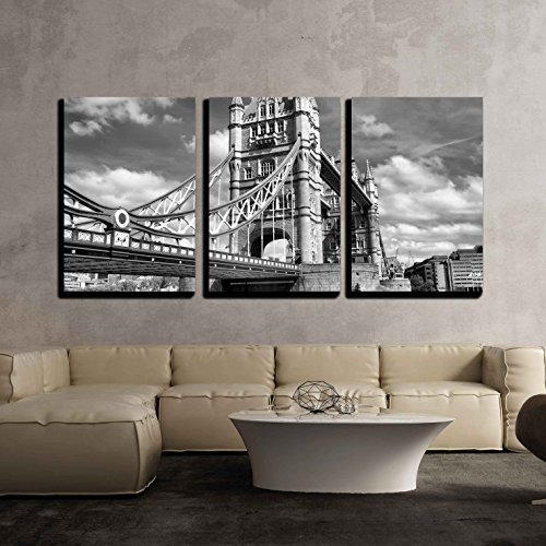 wall26 - 3 Piece Canvas Wall Art - Tower Bridge on River Thames, London, Uk - High Dynamic Range Hdr - Black and White - Modern Home Decor Stretched and Framed Ready to Hang - 16