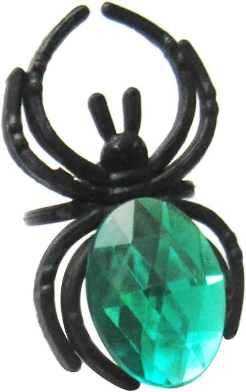 Lsgepavlion Halloween - Anillo de Dedo para Mujer, de plástico, imitación de Piedra Preciosa de imitación de araña, decoración de Fiesta de Navidad, Verde, 10 Piezas
