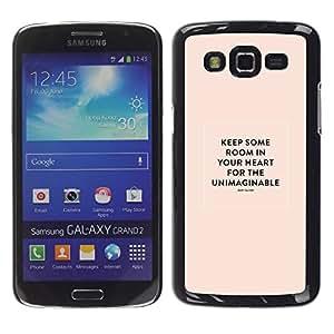 """Pulsar Snap-on Series Teléfono Carcasa Funda Case Caso para Samsung Galaxy Grand 2 II , Corazón Cita inspiradora María Oliver Peach"""""""