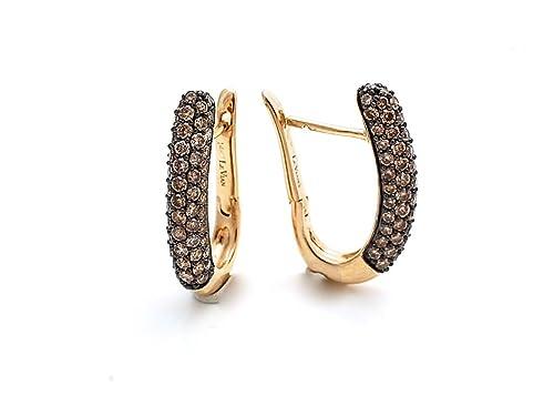 "LeVian Chocolate Diamonds Hoops Earrings 2.25 cttw 14k Yellow Gold 1"" long"