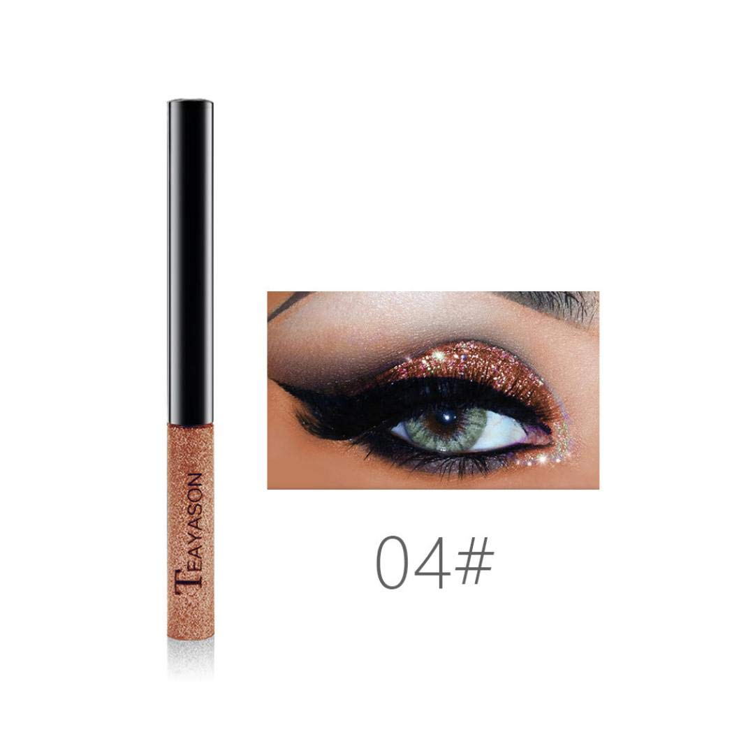 Glitter Liquid Eyeliner,CYCTECH 15 Colors Waterproof Sparkle Eyeshadow Long Lasting Metallic Glitter Eyeliner Pen Shimmer Eye Shadow for Parties, Cosplay, Masquerade (D)
