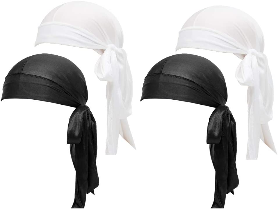 Skystuff 4Pcs Silky Durag Men Wave Durags Long Tail and Wide Straps Durag Pirate Cap Smooth Hat for Hip Hop Daily Decoration