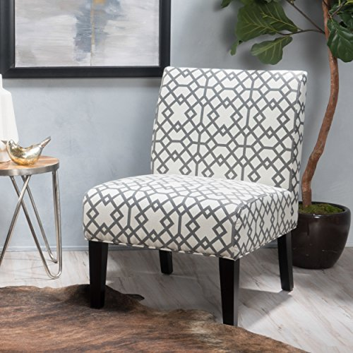 Kendal Grey Geometric Patterned Fabric Accent Chair