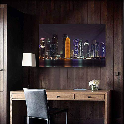 duommhome Urban Simulation Oil Painting Qatar Middle East Town with Luminous Skyscraper at Night Arabic View Decorative Painted Sofa Background Wall 32