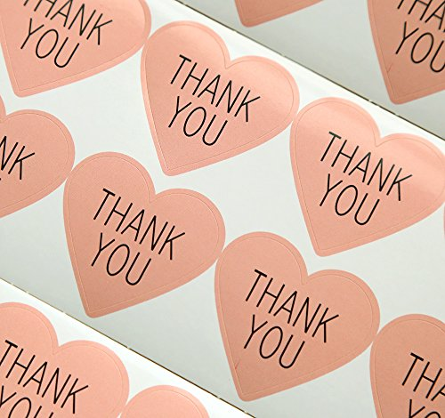 GANSSIA Heart Design Thank You Printed Gift Seal Sticker Color Pink Pack of 320 Pcs (Pink Stickers Heart)