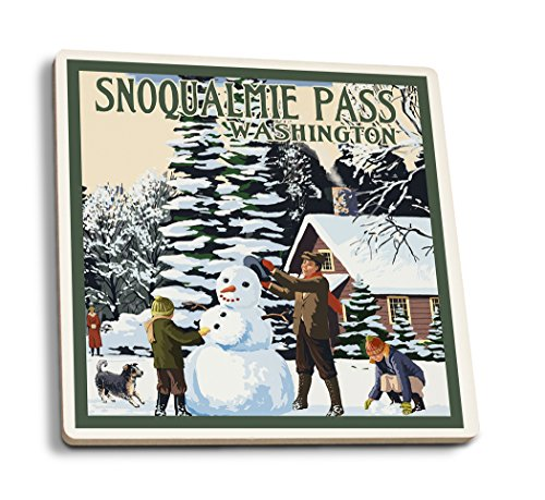 Snoqualmie Pass  Washington   Snowman Scene  Set Of 4 Ceramic Coasters   Cork Backed  Absorbent
