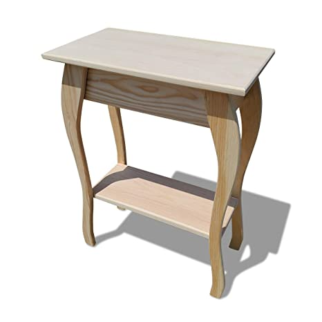 Slim Wooden End Table Amish Furniture Thin Narrow Side Tables For Living Room Hallway Or Nightstand Unfinished