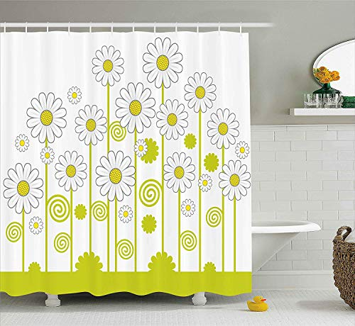 TYANG Floral Shower Curtain,Daisy Flowers in a Sunny Day with Leaves Garden Cartoon Swirl Details Image,Fabric Bathroom Decor Set with Hooks,Yellow and White 3672 inches