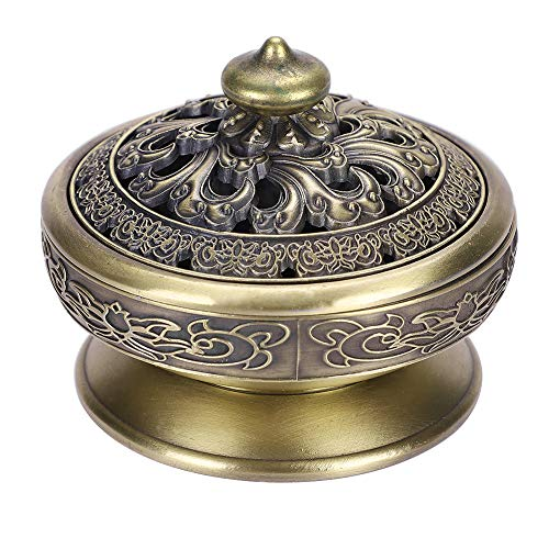 (Alloy Censer Burner Incense Lotus Buddha Incense Burner Holder Bronze Vintage Incense Burner Charcoal Stove Luxury Stand Incense Metal Home Decoration Office Room Tea House for Stick Cone Reel Incense)