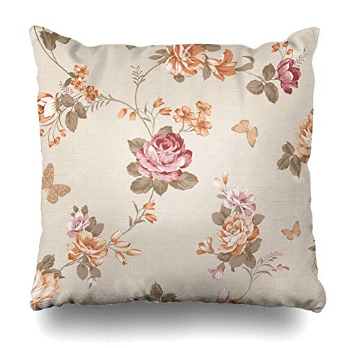 - Ahawoso Throw Pillow Cover Artwork Brown Pattern Flower Rose Pink Floral Vintage Plant Abstract Home Decor Zippered Pillowcase Square Size 20 x 20 Inches Cushion Case