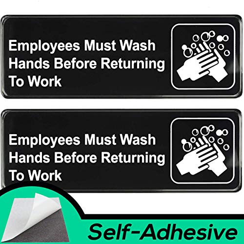 Easy Install Employees Must Wash Hands Before Returning to Work Sign With Self-Adhesive Backing. 2 Pack Set, One Each For The Mens and Womens Restroom. Takes 30 Seconds To Post Above Bathroom Sinks from Retail Genius