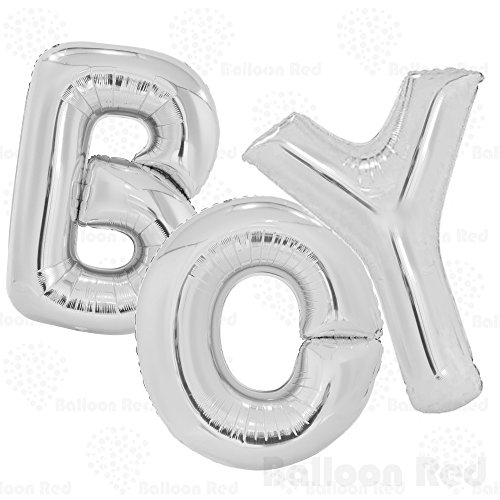 40 Inch Jumbo Helium Foil Mylar Balloons Bouquet (Premium Quality), Glossy Silver, Letters BOY (Homemade Adult Halloween Costumes)