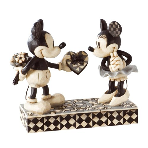Mickey Mouse Christmas Figurine - Disney Traditions by Jim Shore Black & White Mickey & Minnie Mouse Stone Resin Figurine, 6""