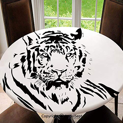(Modern Washable Round Elastic Edged Tablecloths for Round Table,Black Stripes of a Large Hunter Cat Nature Scenes Beautiful Sublime Beast Digital Artwork Decorative Indoor/Outdoor Spillproof Diamete)