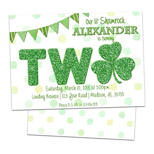 Shamrock 2nd Birthday Invitations Green Glitter Girl Boy TWO St Patricks Day