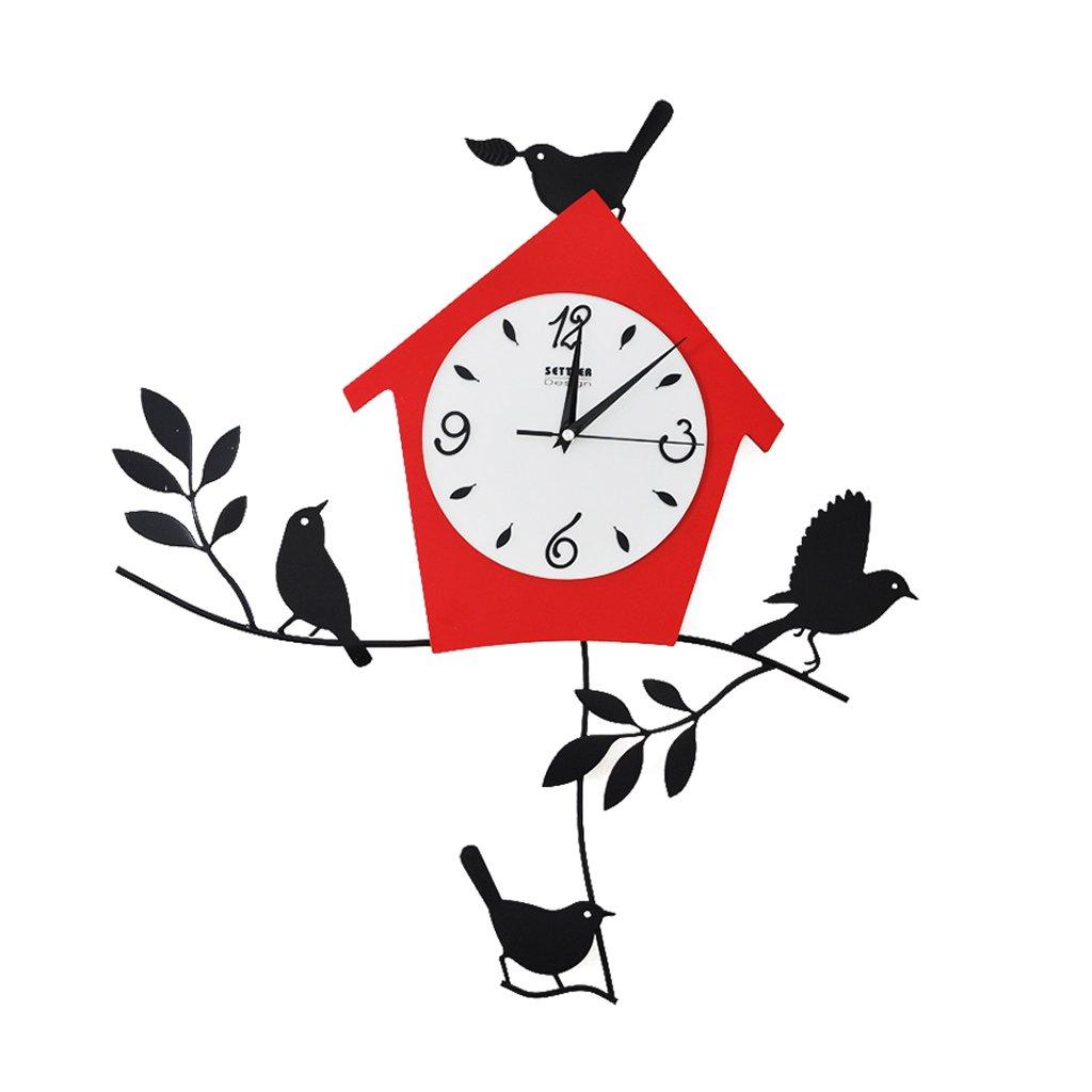 ウォールクロック、家の装飾的な壁時計 クリエイティブな錬鉄製の壁時計(鳥)、リビングルームとベッドルームの装飾の静かな時計。 B07D6NMMZR