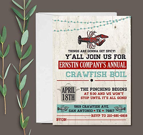Set of 10 Crawfish Boil Party Invitation with Envelopes