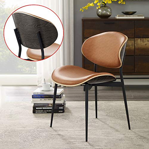 Art Leon Mid Century Modern Retro Faux Leather Upholstered Kitchen Dining Chair with Metal Legs & Bent Wood Accent Side Chair for Home Living Room Bedroom Office, Orange