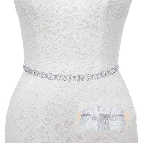 Bridal Wedding Thin Rhinestone Belts - Dress Accessories Sash Crystal Belt,(Silver&Gray]()