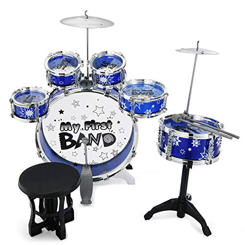 Reditmo Kids Jazz Drum Set - 6 Drums, Cymbal, Chair, Kick Pedal, 2 Drumsticks, Stool, Introductory Instrument to Develop Children