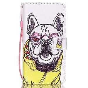Por Samsung Galaxy S6 Edge+ / S6 Edge Plus / G928 Funda Carcasa, Ougger(TM) Cool Perro Print [Regalo Muñequera] Durable PU Cuero Purse Flip Solapa Ranura Tarjetas Magnética Cierre Protector Tapa Billetera