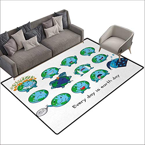 (Door mat for Internal Anti-Slip mat Emoji Planet Earth as Smiley Angry Happy Sad Cheerful Faces Expressions and a Quote Print W70)
