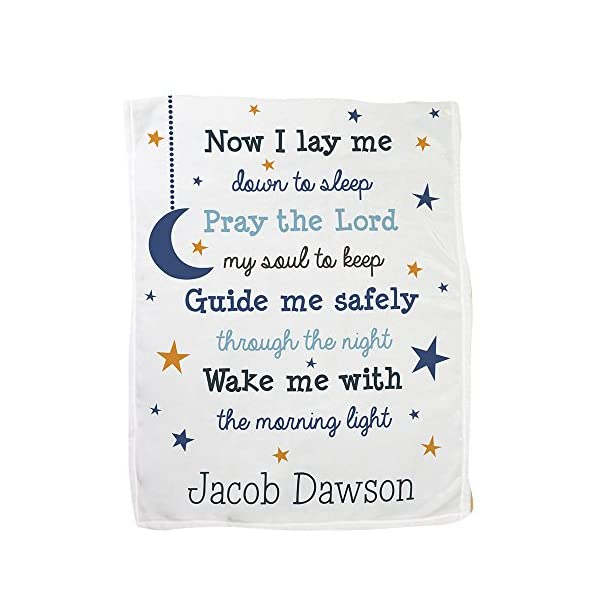 GiftsForYouNow Now I Lay Me Personalized Fleece Baby Blanket, Blue