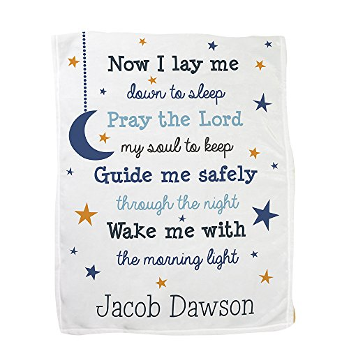(GiftsForYouNow Now I Lay Me Personalized Fleece Baby Blanket, Blue)