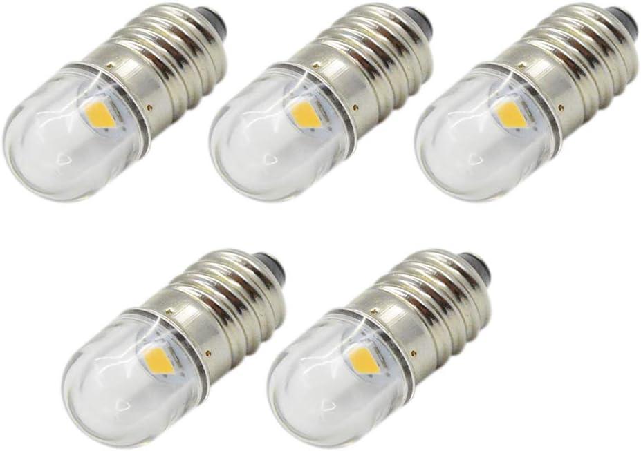 Ruiandsion - 5 bombillas LED E10 de 3 V, 6 V, 12 V, 1 W, luz blanca cálida, repuesto de linterna para faro, linterna de cabeza pequeña, tierra negativa, 5 unidades, 12V 0.96watts 12.00volts